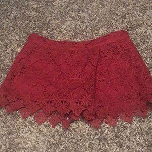 Maroon lace Umgee skort.